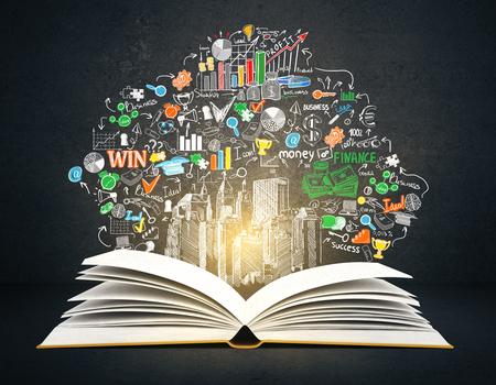koncepció: Elülső, kilátás, nyitott könyv, kreatív üzleti vázlat sötét beton alapon. 3D renderelés. oktatási koncepció