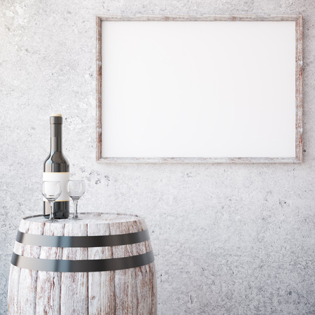 background picture: Barrel with wine glass and bottle on concrete background with aged wooden picture frame. Mock up, 3D Rendering