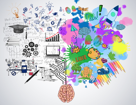 明るいカラフルなスケッチとコンクリート背景に人間の脳。創造的かつ分析的な思考の概念