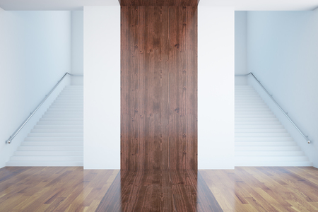 staircases: Front view of interior with stairs and wooden banner. Mock up, 3D Rendering Stock Photo