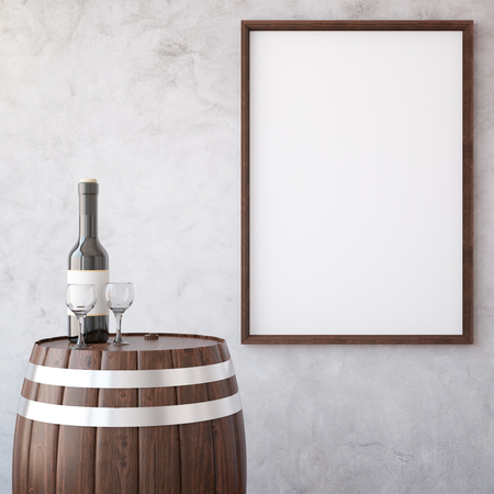 background picture: Barrel with wine glass and bottle on concrete background with wooden picture frame. Mock up, 3D Rendering