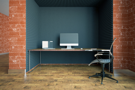 clean floor: Clean interior with red brick walls, wooden floor and modern workplace with blank computers. 3D Rendering