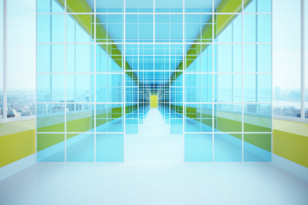 corridor: Futuristic glass corridor with city view. 3D Rendering