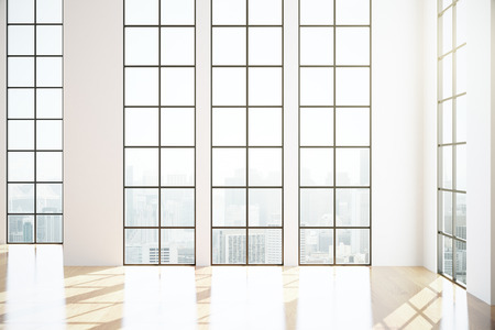unfurnished: Modern unfurnished interior with shiny wooden floor, framed windows and city view. 3D Rendering Stock Photo