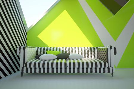 verde interior moderno con el sofá estampado cómoda y la luz del día. Representación 3D Foto de archivo