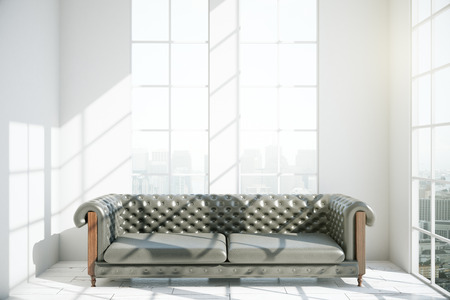 brown leather: Modern interior with luxurious brown leather sofa and city view. 3D Rendering