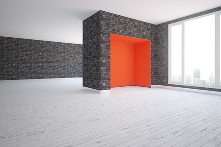 glass brick: Modern interior with black brick walls, wooden floor, red corner and city view. 3D Rendering Stock Photo