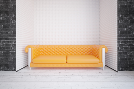 yellow walls: Modern interior with brick walls and yellow sofa. Relax concept. 3D Rendering