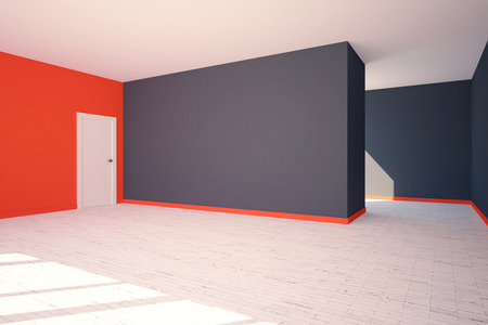 stairs interior: Side view of modern grey and red interior with blank wall, door and stairs. 3D  Rendering Stock Photo