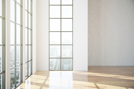 unfurnished: Modern unfurnished room with shiny wooden floor, framed windows and city view. 3D Rendering Stock Photo