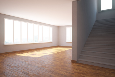 daylight: Side view of unfurnished interior with wooden, floor, staircase and daylight. 3D Rendering
