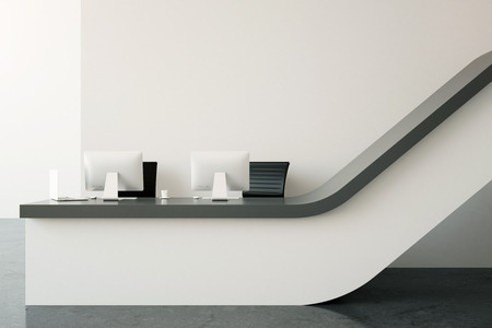 hall monitors: Interior with modern reception desk. 3D Rendering Stock Photo