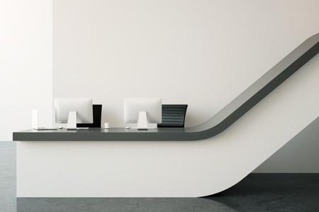 interior with modern reception desk 3d rendering photo