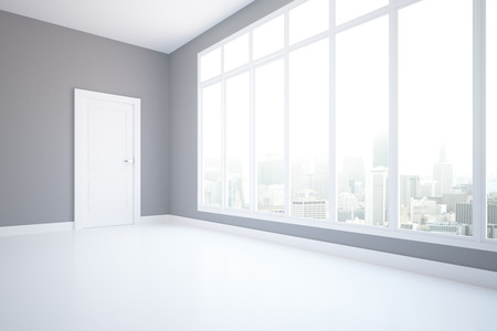 unfurnished: Side view of unfurnished grey interior with city view and daylight. 3D Rendering