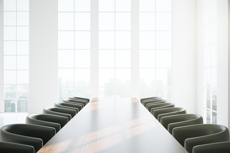 textured: Close up of wooden conference table in room with city view. 3D Rendering