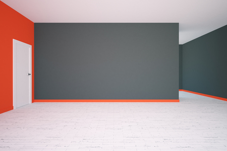 blank wall: Front view of modern grey and red interior with blank wall and door. 3D  Rendering