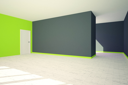 stairs interior: Side view of modern grey and green interior with blank wall, door and stairs. 3D  Rendering