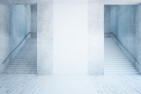 staircases: Front view of concrete interior with stairs and white banner. Mock up, 3D Rendering Stock Photo