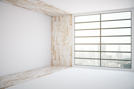 loft interior: Creative light loft interior with empty wall and city view. Mock up, 3D Rendering Stock Photo