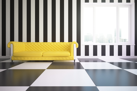 yellow walls: Modern room with yellow leather couch, patterned walls, floor and city view. 3D Rendering Stock Photo