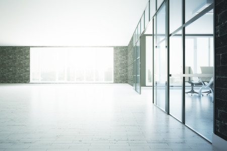 glass partition: Modern conference room interior with city view. 3D Rendering