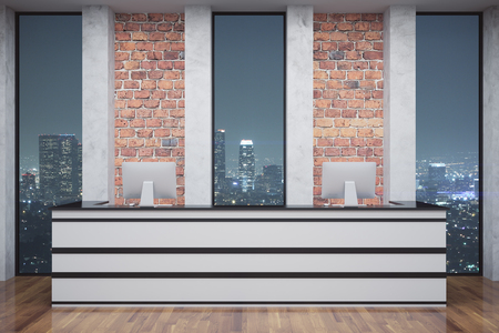 front view: Red brick reception with computer monitors, wooden floor and night city view. 3D Rendering