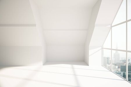 loft: Loft room with city view and daylight. Side view, 3D Rendering Stock Photo