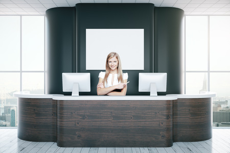 reception desk: Confident young secretary at black reception desk. 3D Rendering