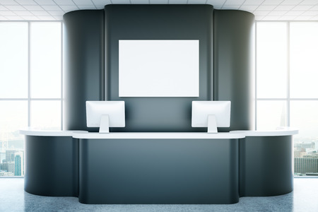 office furniture: Black recepetion desk with empty poster and city view. Mock up, 3D Rendering