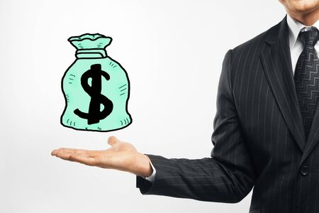 creative money: Businessman holding creative money bag sketch. Wealth concept Stock Photo