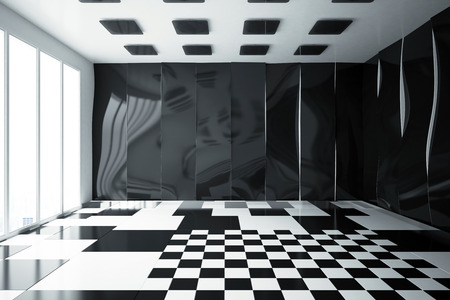 clean floor: Clean glossy interior with patterned walls, floor and ceiling. 3D Rendering