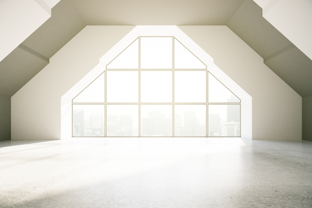 loft: Loft interior with creative window, city view and daylight. 3D Rendering