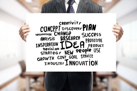 innovation concept: Businessman holding whiteboard with text. Creativity and innovation concept