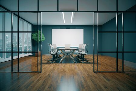 glass partition: Modern conference room with night city view. 3D Rendering