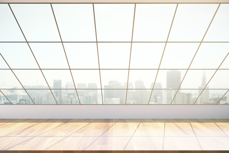 interior window: Empty wooden interior with framed window and city view. 3D Rendering