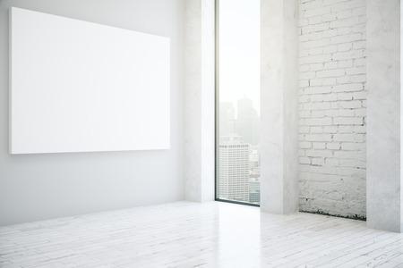 Zijaanzicht van witte bakstenen interieur met lege bnner en uitzicht op de stad. Mock-up, 3D-rendering Stockfoto