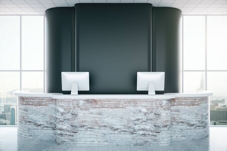 textured wall: Textured interior desk with computer monitors and empty blank wall in interior with city view. 3D Rendering
