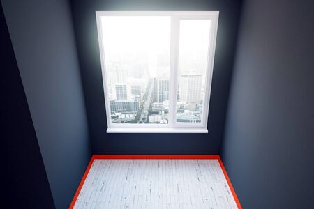 plinth: Dark grey room with red plinth, wooden floor and window with city view. 3D Rendering