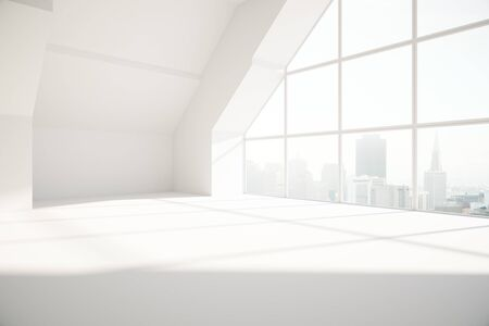 Loft interior with city view and daylight. Side view, 3D Rendering