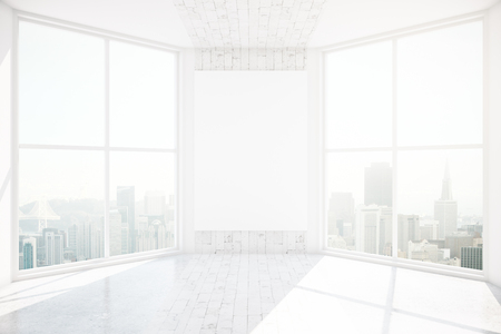 Interieur met lege poster op de muur, panoraic uitzicht op de stad en daglicht. Mock-up, 3D Rendeirng Stockfoto