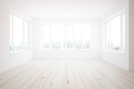 wood room: Bright interior with concrete walls, wooden floor and city view. 3D Rendering