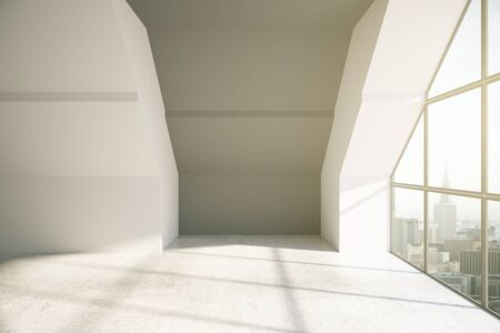 loft: Loft room with city view and daylight. 3D Rendering