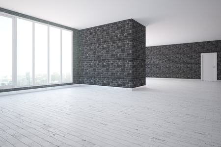 Side view of modern unfurnished black brick interior with wooden floor and window with city view. 3D Rendering Imagens