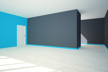 stairs interior: Side view of modern grey and blue interior with blank wall, door and stairs. 3D  Rendering
