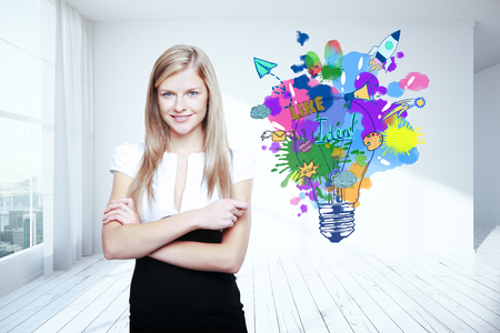 idea lamp: Confident young woman in interior with colorful lamp sketch. Creative idea concept