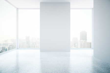 empty space: Bright interior with empty white wall, concrete floor and city view. Mock up, 3D Rendering