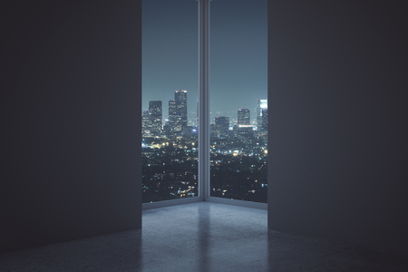 dark city: Interior with two empty dark walls and night city view in between. Mock up, 3D Rendering