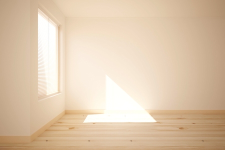 modern house: Side view of bright room with wooden floor, concrete walls and window with sunlight. 3D Rendering Stock Photo