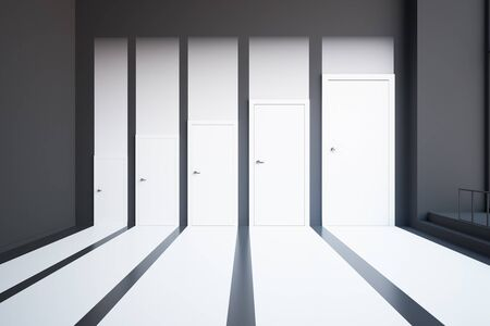 white abstract: Front view of abstract white interior with different sized doors. Choice concept. 3D Rendering