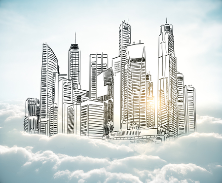 City sketch in cloudy sky. Urban art concept Stock Photo